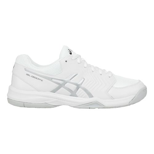 Mens ASICS Gel-Dedicate 5 Court Shoe - White/Silver 12.5