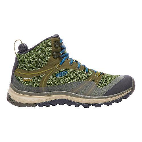 Womens Keen Terradora Mid WP Hiking Shoe - Olive/Blue 7.5