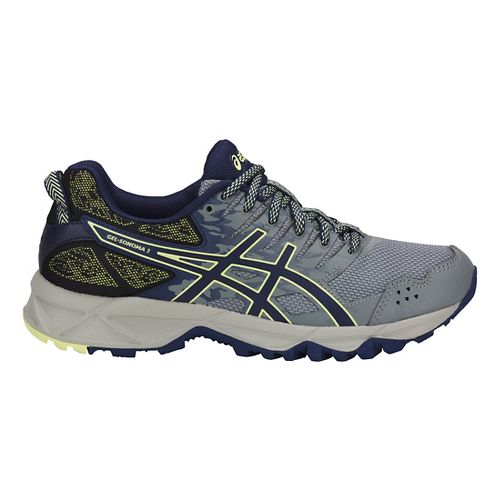 Womens ASICS GEL-Sonoma 3 Trail Running Shoe - Grey/Blue/Lime 5