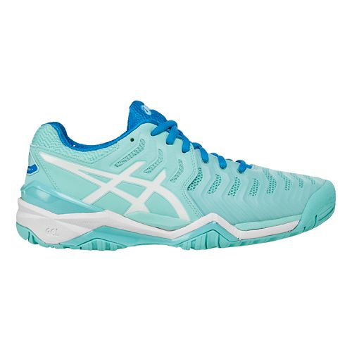 Womens ASICS Gel-Resolution 7 Court Shoe - Aqua/White 9