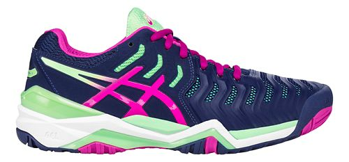 Womens ASICS Gel-Resolution 7 Court Shoe - Blue/Green 11.5