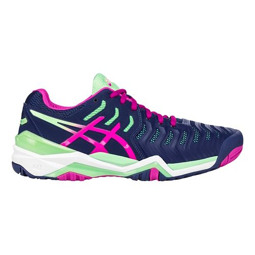 Womens ASICS Gel-Resolution 7 Court Shoe - Blue/Green 5.5