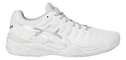 Womens ASICS Gel-Resolution 7 Clay Court Shoe - White/Silver 10.5