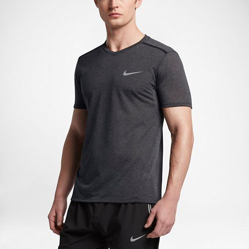 Mens Nike Breathe Tailwind Short Sleeve Technical Tops - Heather Black L