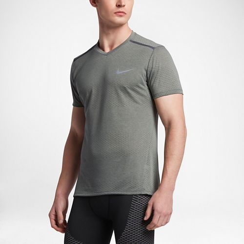 Mens Nike Breathe Tailwind Short Sleeve Technical Tops - Heather Tumbled Grey M