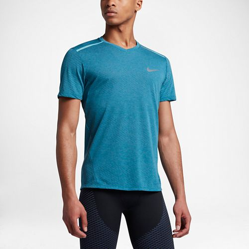 Mens Nike Breathe Tailwind Short Sleeve Technical Tops - Heather Industrial Blue L