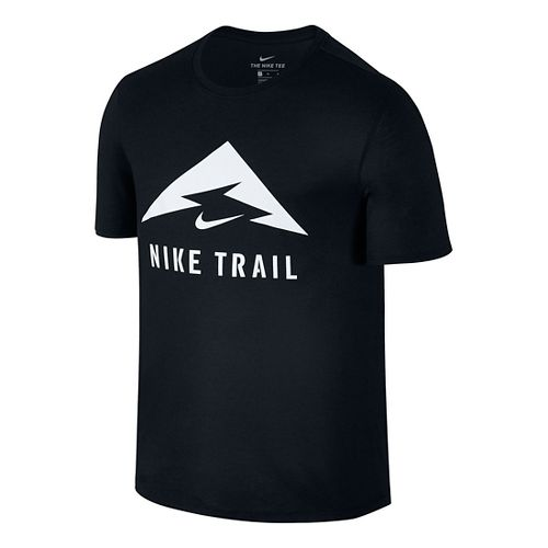 Mens Nike Trail Tee Short Sleeve Technical Tops - Black/White M