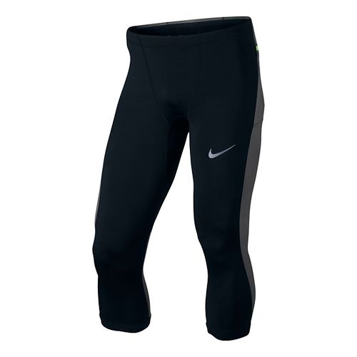 Mens Nike Trail Power 3QT Capri Tights - Black/Volt S
