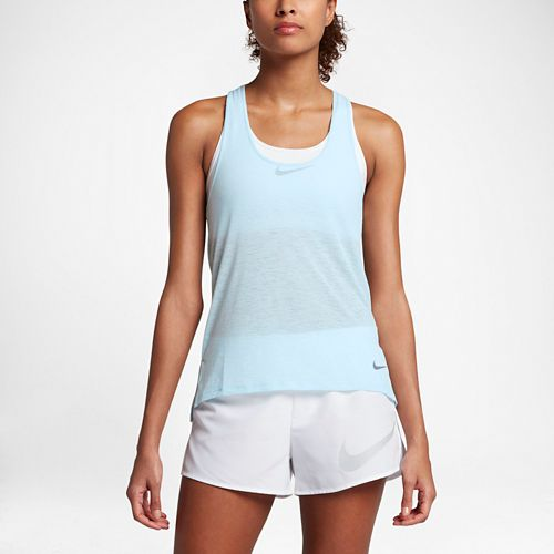 Womens Nike Breathe Cool Sleeveless & Tank Technical Tops - Glacier Blue XS