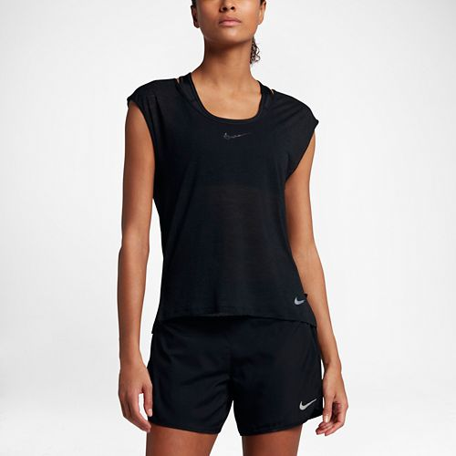 Womens Nike Breathe Cool Short Sleeve Technical Tops - Black L