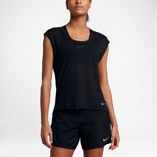 Womens Nike Breathe Cool Short Sleeve Technical Tops - Black XL