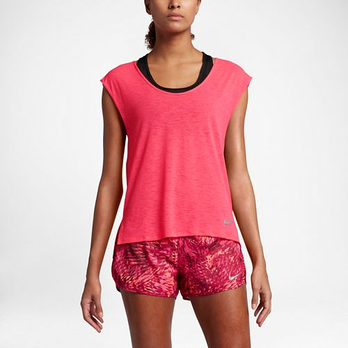 Womens Nike Breathe Cool Short Sleeve Technical Tops - Racer Pink S