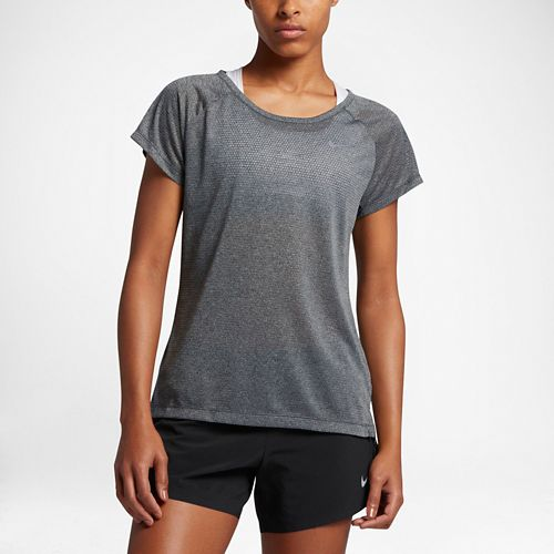 Womens Nike Breathe Short Sleeve Technical Tops - Anthracite L