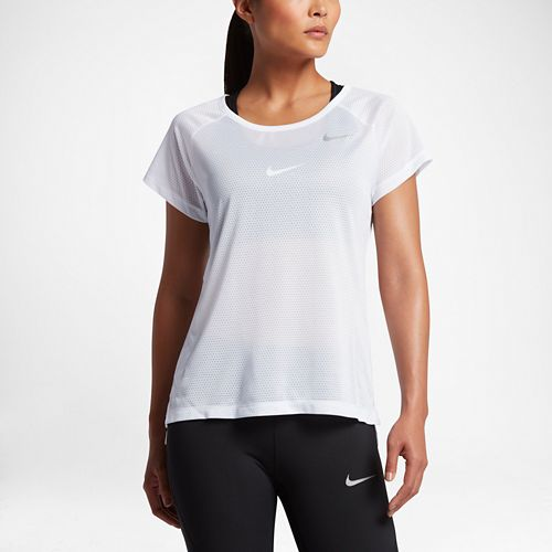 Womens Nike Breathe Short Sleeve Technical Tops - White M