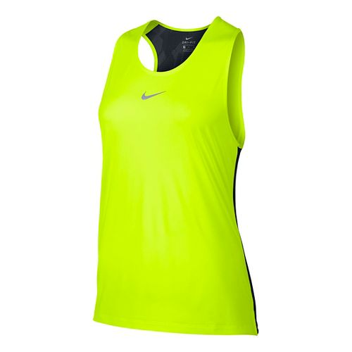 Womens Nike Breathe Trail Sleeveless & Tank Technical Tops - Volt/Black L