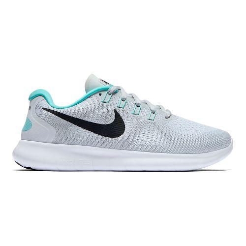 Womens Nike Free RN 2017 Running Shoe - Platinum/Teal 8