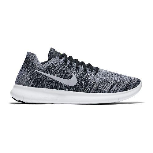 Mens Nike Free RN Flyknit 2017 Running Shoe - White/Black 12