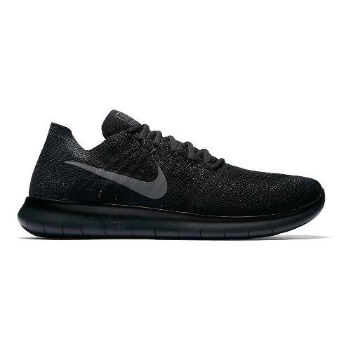 Mens Nike Free RN Flyknit 2017 Running Shoe - Black/Black 11