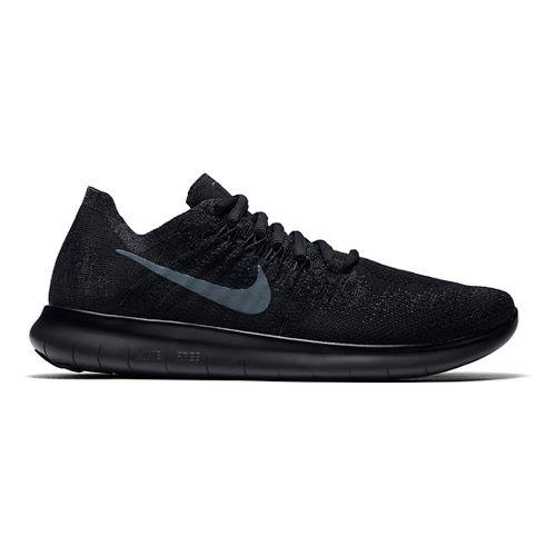Womens Nike Free RN Flyknit 2017 Running Shoe - Black/Black 10.5