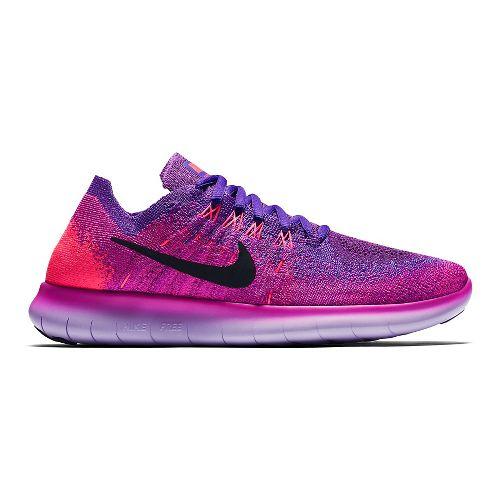 Womens Nike Free RN Flyknit 2017 Running Shoe - Pink/Grape 8