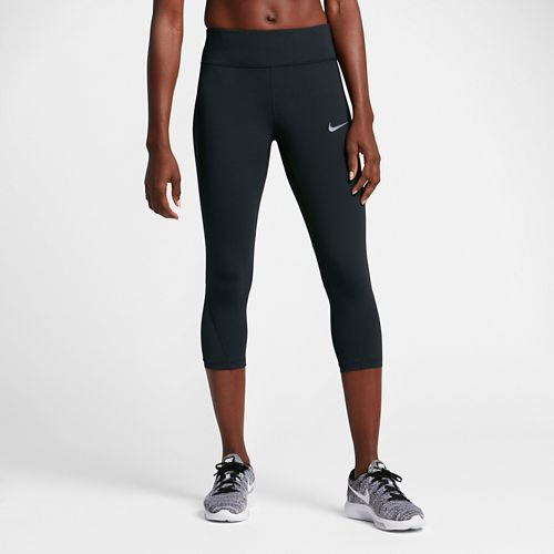 Womens Nike Power Epic Lux Mesh Capri Tights - Black L