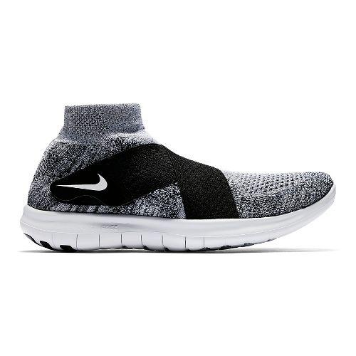 Mens Nike Free RN Motion Flyknit 2017 Running Shoe - White/Black 9.5