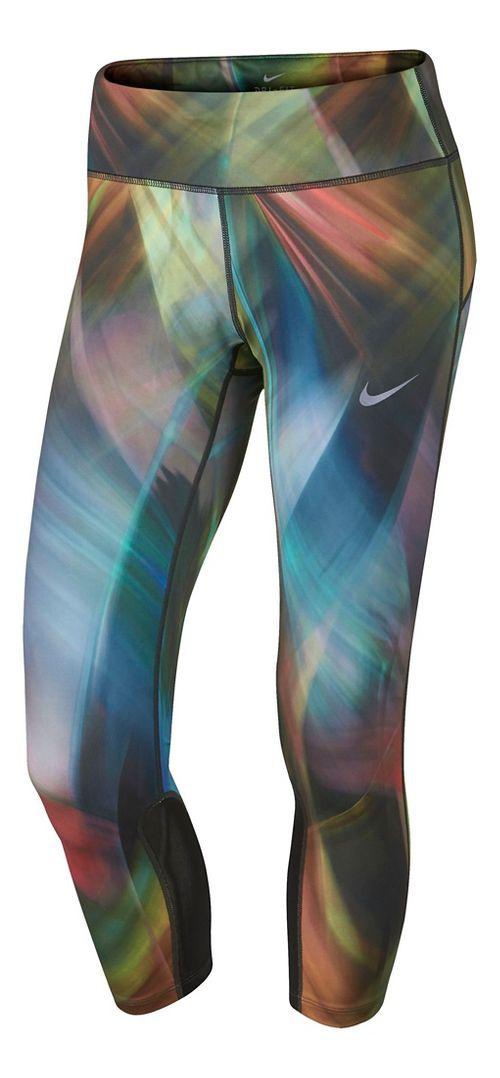 Womens Nike Power Epic Run Printed Crop Capris Tights - Light Blue/Pink L