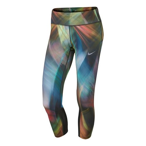 Womens Nike Power Epic Run Printed Crop Capris Tights - Light Blue/Pink L