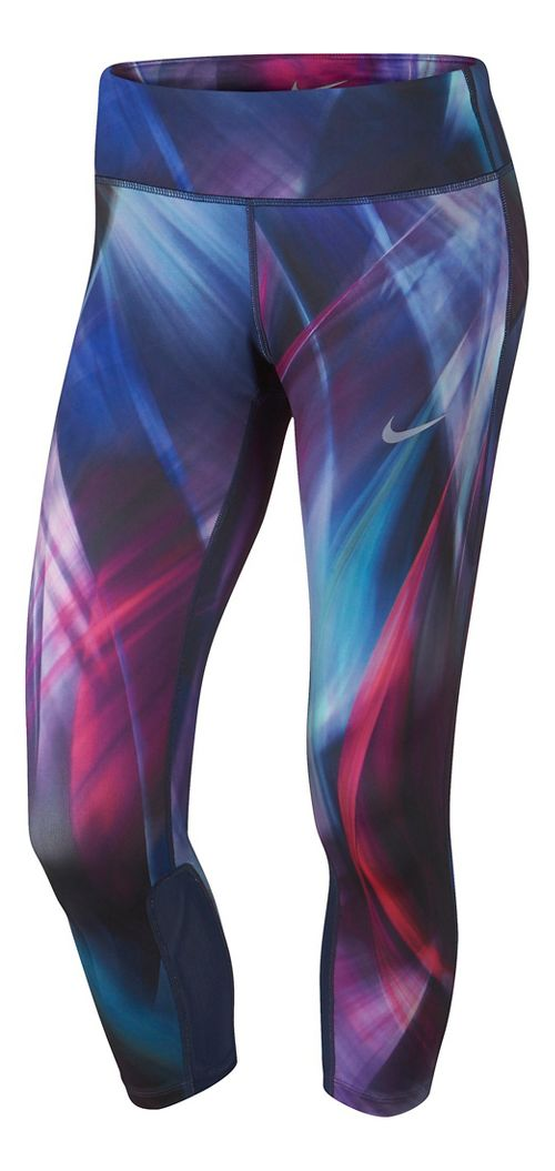 Womens Nike Power Epic Run Printed Crop Capris Tights - Hyper Grape/Blue XL