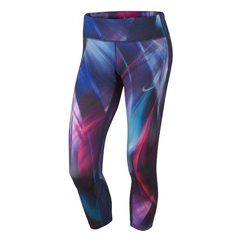Womens Nike Power Epic Run Printed Crop Capris Tights - Hyper Grape/Blue M
