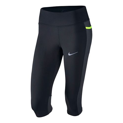 Womens Nike Power Trail Capri Tights - Black/Anthracite M