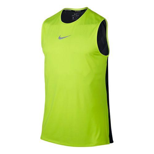 Mens Nike Breathe Trail Sleeveless & Tank Technical Tops - Volt/Black M