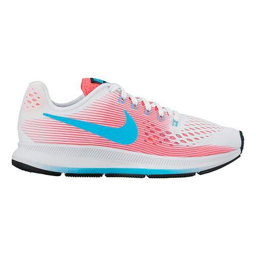 Kids Nike Air Zoom Pegasus 34 Running Shoe - White/Pink 4Y