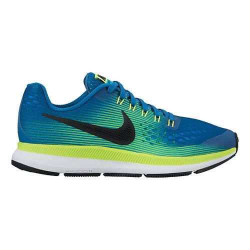 Kids Nike Air Zoom Pegasus 34 Running Shoe - Blue/Green 4Y