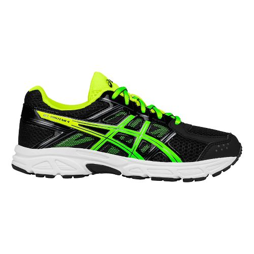 ASICS Kids GEL-Contend 4 Running Shoe - Black/Green/Yellow 1Y