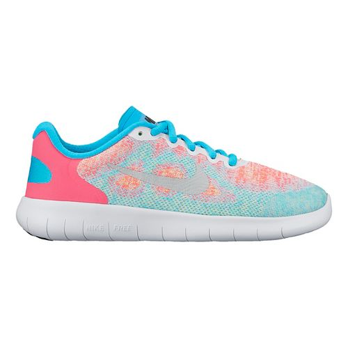 Kids Nike Free RN 2017 Running Shoe - White/Pink 7Y