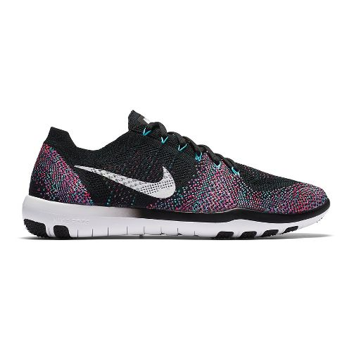 Womens Nike Free Focus Flyknit 2 Cross Training Shoe - Black/Pink 7