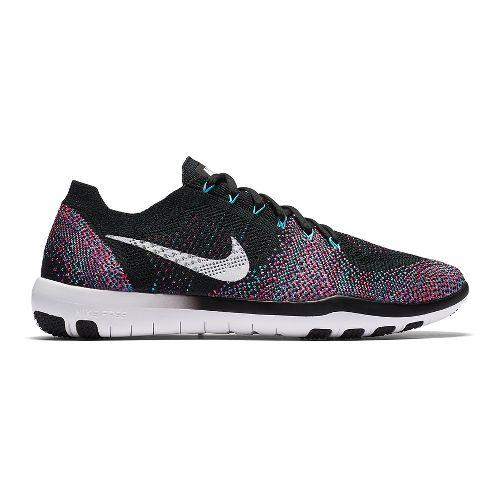 Womens Nike Free Focus Flyknit 2 Cross Training Shoe - Black/Pink 7.5