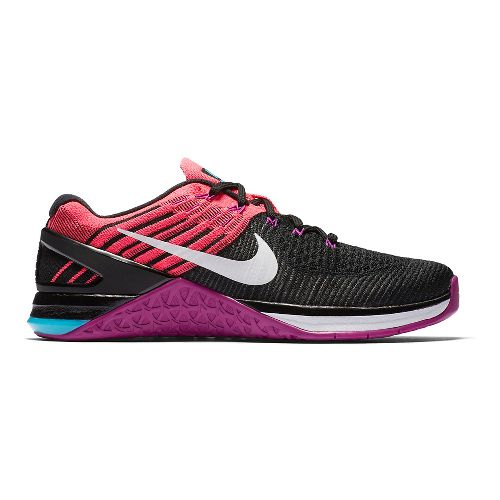 Womens Nike MetCon DSX Flyknit Cross Training Shoe - Black/Hyper Violet 11