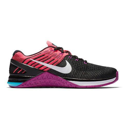 Womens Nike MetCon DSX Flyknit Cross Training Shoe - Black/Hyper Violet 7.5