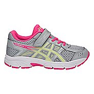 Kids ASICS PRE-Contend 4 Running Shoe - Grey/Limelight/Pink 12C