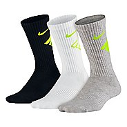 Nike Kids Graphic Performance Cushion Crew 3 pack Socks - Black/White/Grey M