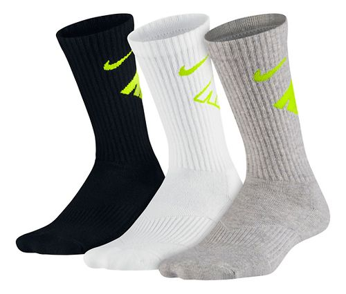 Nike Kids Graphic Performance Cushion Crew 3 pack Socks - Black/White/Grey S