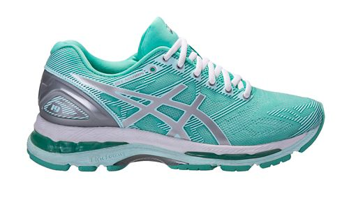 Womens ASICS GEL-Nimbus 19 Exclusive Running Shoe - Mint/Silver 9.5