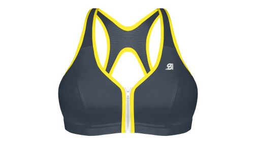 Womens Shock Absorber Active Zipped Plunge Sports Bras - Grey/Yellow 32DD