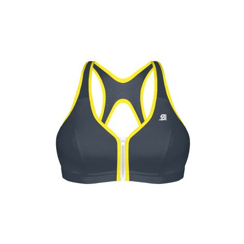 Womens Shock Absorber Active Zipped Plunge Sports Bras - Grey/Yellow 34D
