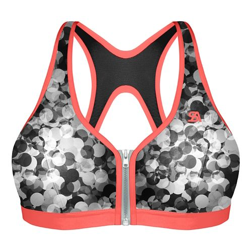 Womens Shock Absorber Active Zipped Plunge Sports Bras - Grey Print/Coral 36C
