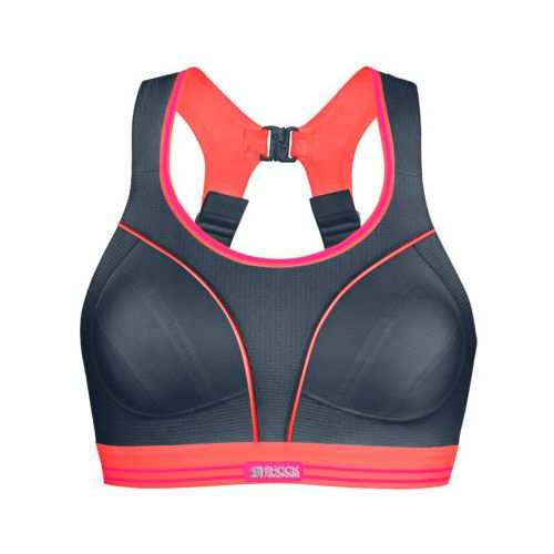 Womens Shock Absorber Ultimate Run Sports Bras - Grey/Coral 36FF
