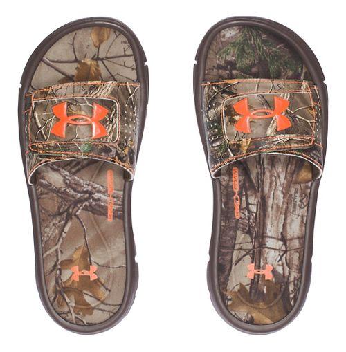 Under Armour Ignite Camo V SL Sandals Shoe - Cleveland Brown 6Y