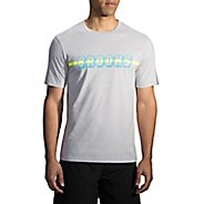 Mens Brooks T-Shirt Short Sleeve Non-Technical Tops - Heather Sterling XS